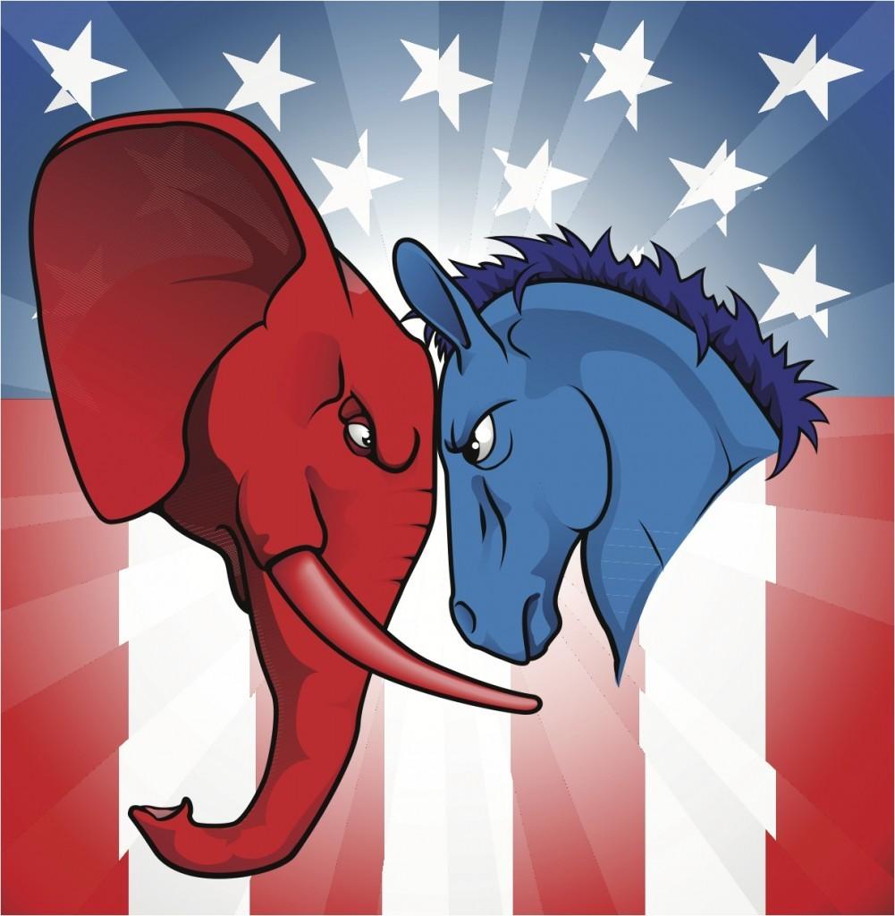 Amerikan Cumhuriyetçileri'ni temsil eden fil ile Demokratlar'ı temsil eden eşek kafa kafaya...