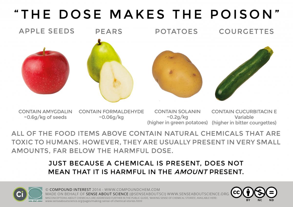 Elma çekirdeğindeki amigdalin kimyasalı kilogram başına 0.6 gramdan sonra toksiktir. Aynı şey armutun yediğimiz kısmında bulunan formaldehit kimyasalı için kilogram başına 0.06 gramdan sonra, patateslerde bulunan solaninin kilogram başına 0.2 gramı geçmesi halinde ve kabaktaki kukurbitasin E'nin kişiden kişiye değişebilen dozlarında geçerlidir. Yani doğal olarak bulunan besinlerin içerisindeki