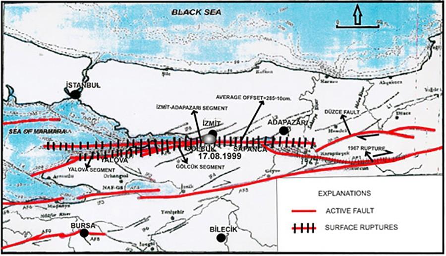17 Ağustos 1999 depremine neden olan, Kuzey Anadolu Fay Hattı segmanları (ya da segmentleri)... Yalova segmanı en solda, İzmit-Adapazarı segmanı ortada, Düzce fayı da sağda. Bu segmanlar boyunca meydana gelen sürtünme, sonunda büyük bir kırılmaya neden olmuştur ve 17 Ağustos gecesi patlamıştır. Tırtıklı gösterilen bölgeler, yüzey kırınımların göstermektedir. Bunlar, deprem sırasında kırılan bölgelerdir. Düz kırmızılar ise aktif fay hatlarıdır.İşte deprem fırtınaları, fay hattının bir kısmını oluşturan bir segmentte başlar ve segment segment zıplayarak fay hattı boyunca devam eder.