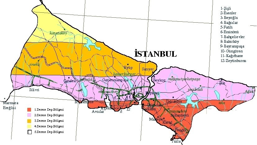 İstanbul'un deprem risk haritası... Kırmızılar en yüksek tehdit altında olan bölgelerdir. Mor renkle gösterilenler orta riskte, turuncular ve sarılar daha düşük riskte deprem bölgeleridir. Bu harita, doğrudan jeolojik bir analiz yapmaktadır; bina sağlamlığı gibi faktörleri göz ardı etmektedir.
