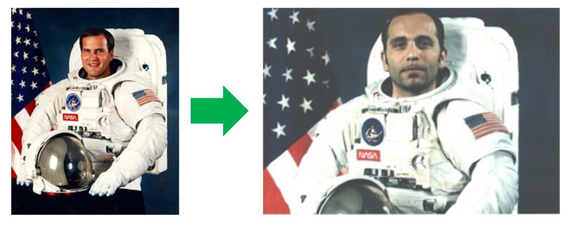 """Yukarıdaki iki fotoğraf """"Dr."""" Serkan Anılır'ın çok sayıdaki sahtekarlık edimlerinden birini (sağdaki) gösteriyor. NASA astronotu Richard J. Hieb'e ait bir fotoğrafı (soldaki) dijital olarak değiştiren Anılır, NASA'daki ilk Türk astronot olduğu iddiasıyla fotoğrafı CV'sine koydu. Oysaki NASA astronotu olabilmek Amerikan vatandaşı olmayı gerektirdiğinden böyle bir durum söz konusu olamaz. (Görsel hakları:Serkan Anilir Blogspot)"""